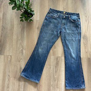 7 For All Mankind Mid-Blue Flare Cropped Jeans